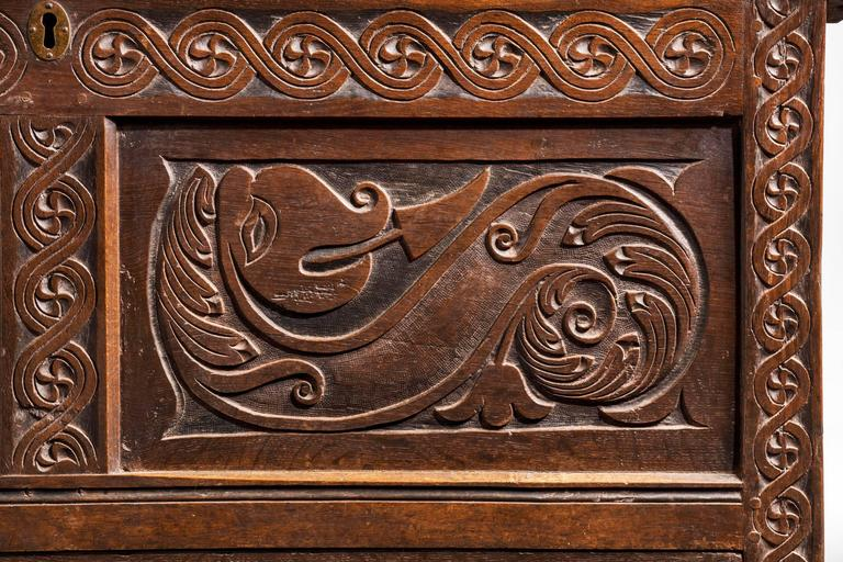 Charles II Period Oak Dower Chest of Good Size For Sale 1