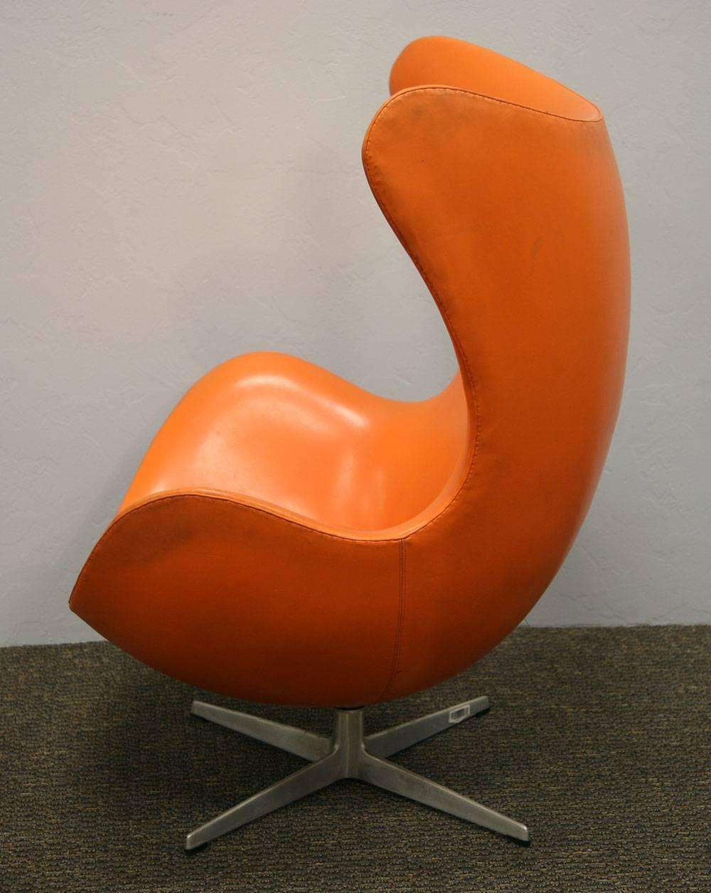 Arne Jacobsen Orange Egg Chair And Ottoman For Sale At 1stdibs