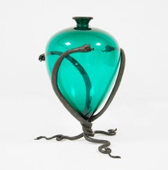 Umberto Bellotto, Vase with Snakes in Wrought Iron and Glass, circa 1920