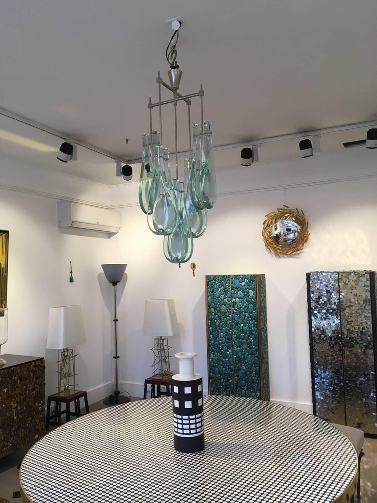 Italian Rare Chandelier Five Drops by Max Ingrand for Fontana Arte For Sale