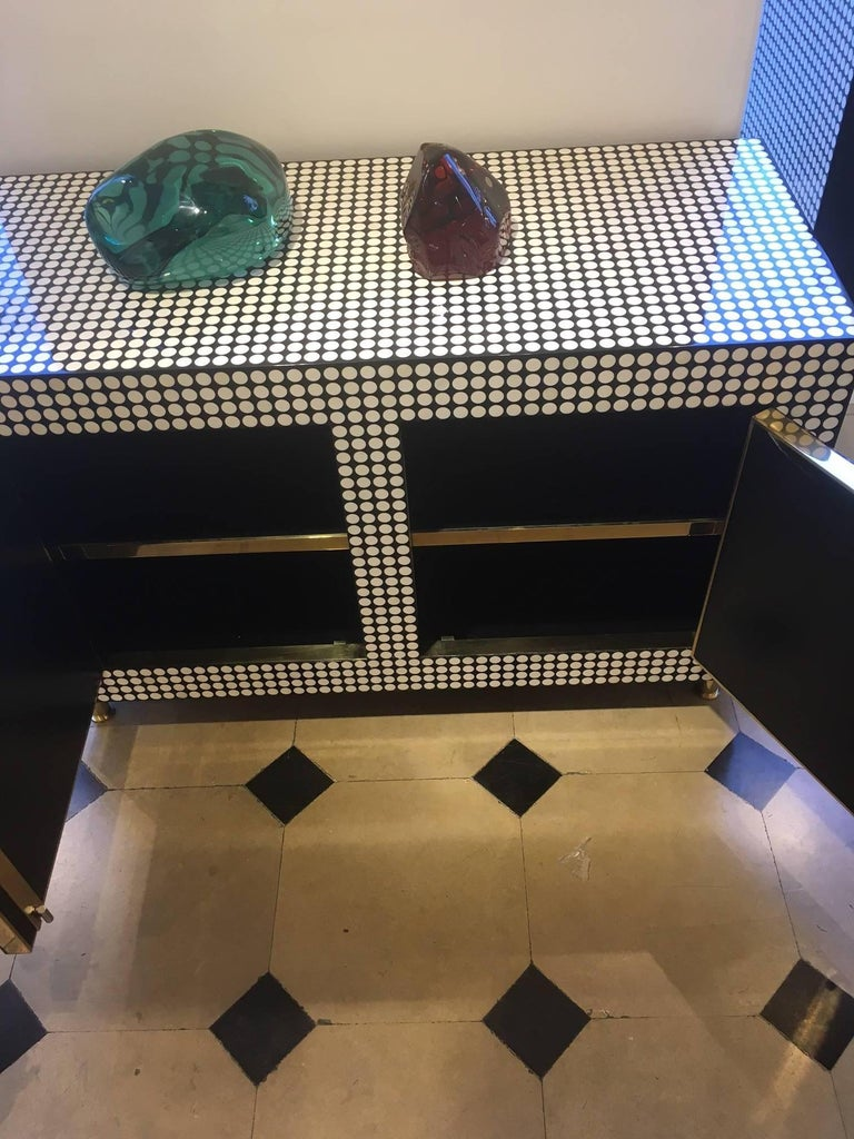 Pair of Cabinets Covered with Round Bones and Black Resin by Etienne Allemeersch In Good Condition For Sale In Paris, FR