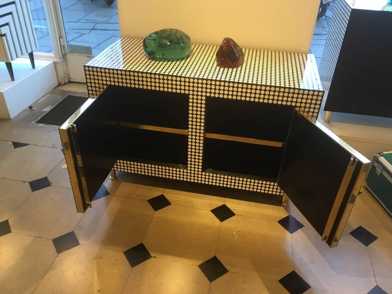 Belgian Pair of Cabinets Covered with Round Bones and Black Resin by Etienne Allemeersch For Sale