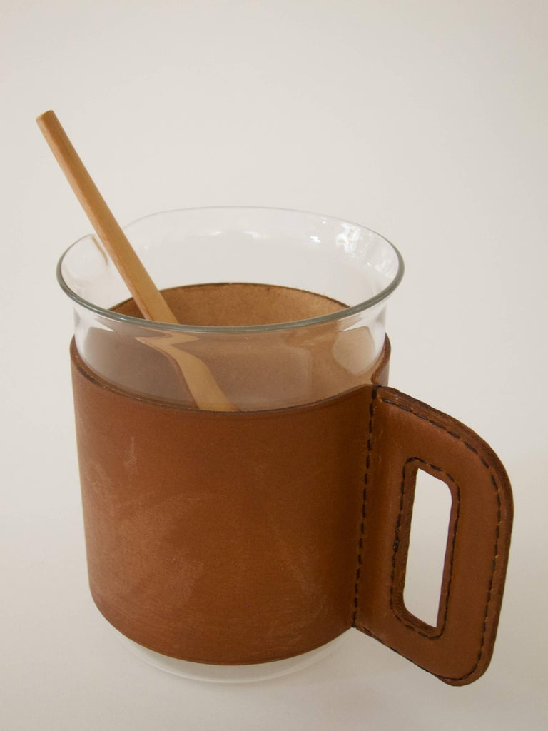Leather Pitcher with Four Glasses and a Bamboo Muddler For Sale