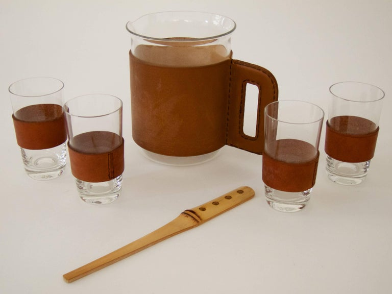 Austrian Pitcher with Four Glasses and a Bamboo Muddler For Sale