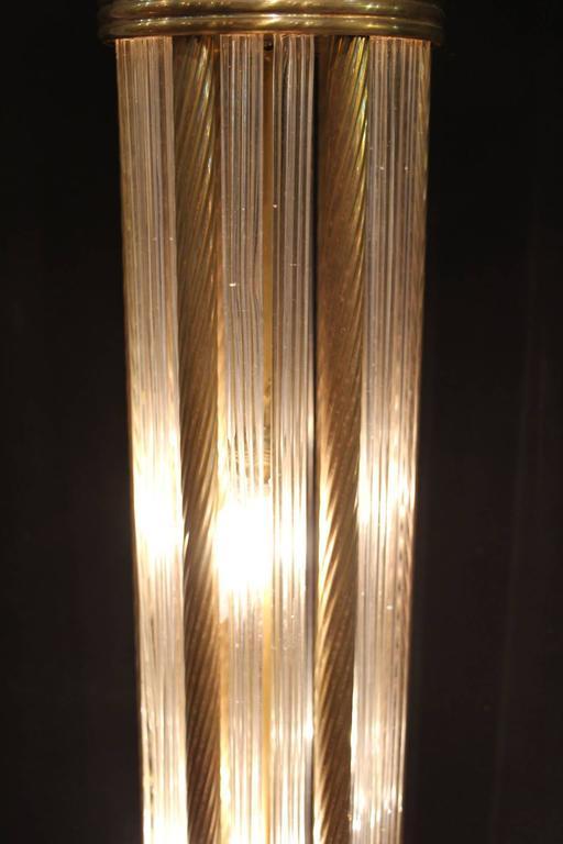 Mid-Century Modern Italian Modern Mid Century Brass and Glass Rods Floor Lamp For Sale