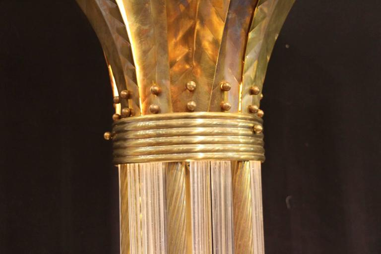 Italian Modern Mid Century Brass and Glass Rods Floor Lamp In Excellent Condition For Sale In Saint-Ouen, FR