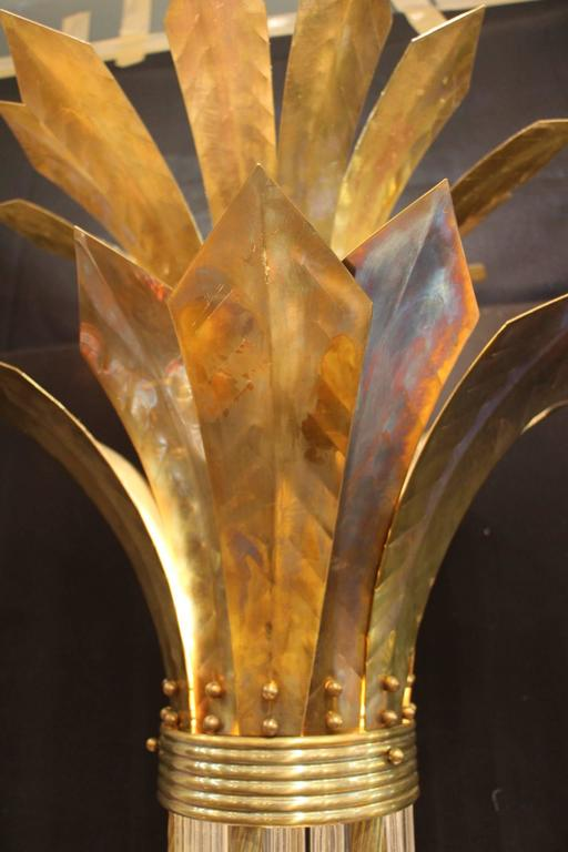 Mid-20th Century Italian Modern Mid Century Brass and Glass Rods Floor Lamp For Sale