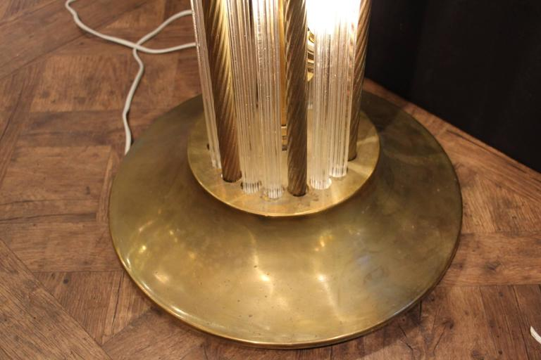 Italian Modern Mid Century Brass and Glass Rods Floor Lamp For Sale 1