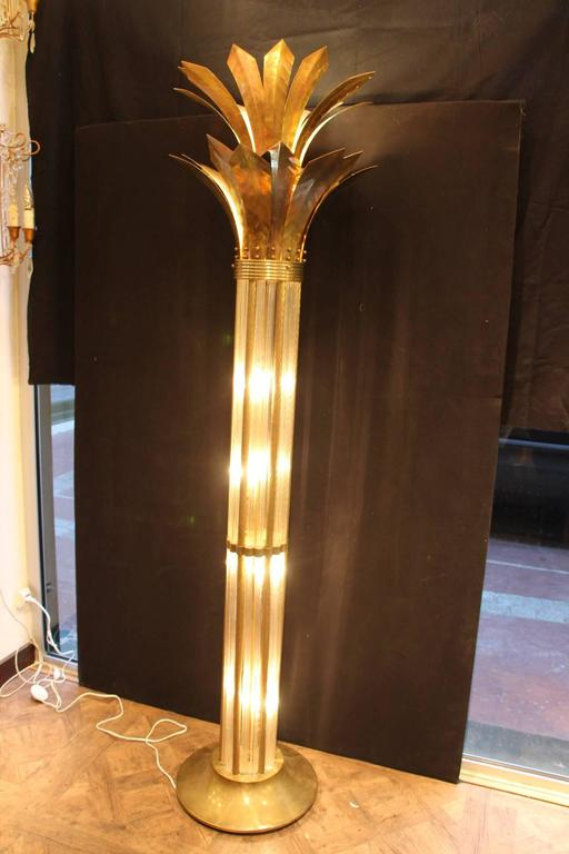 Italian Modern Mid Century Brass and Glass Rods Floor Lamp For Sale 2
