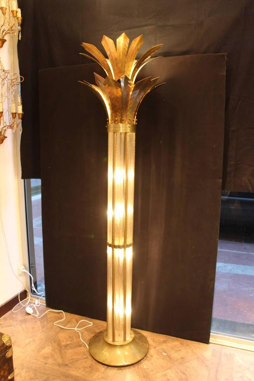 Italian Modern Mid Century Brass and Glass Rods Floor Lamp For Sale 3