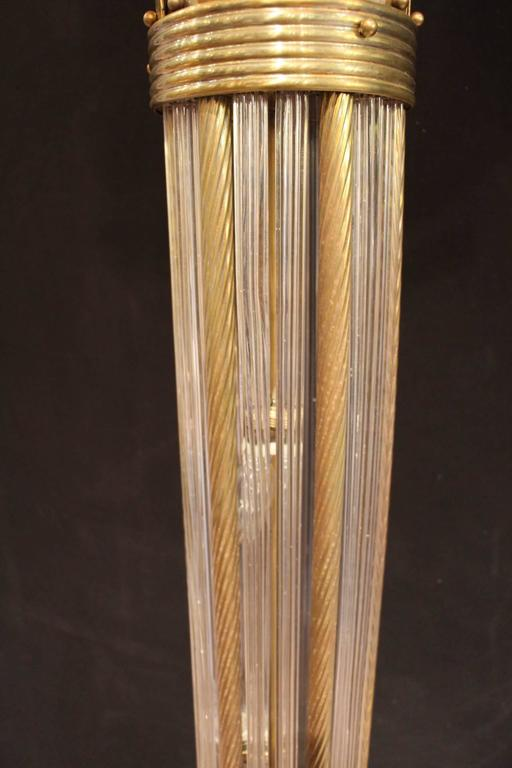 Italian Modern Mid Century Brass and Glass Rods Floor Lamp For Sale 4