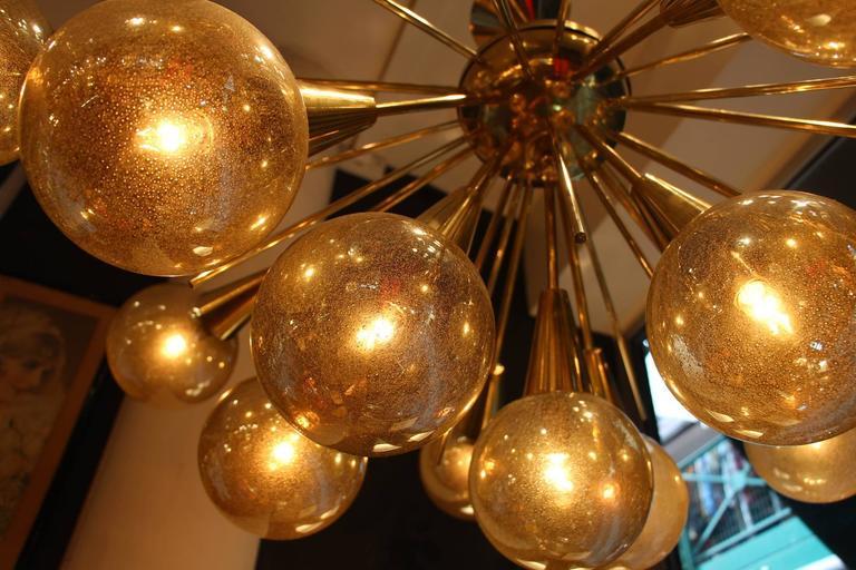 Half Sputnik Chandelier In Brass And Murano Golden Glass