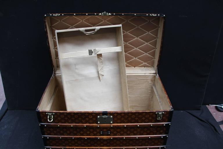 1900s Louis Vuitton Courrier Steamer Trunk in Woven Canvas,Malle Louis Vuitton For Sale 4