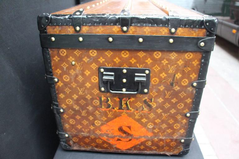 French 1900s Louis Vuitton Courrier Steamer Trunk in Woven Canvas,Malle Louis Vuitton For Sale
