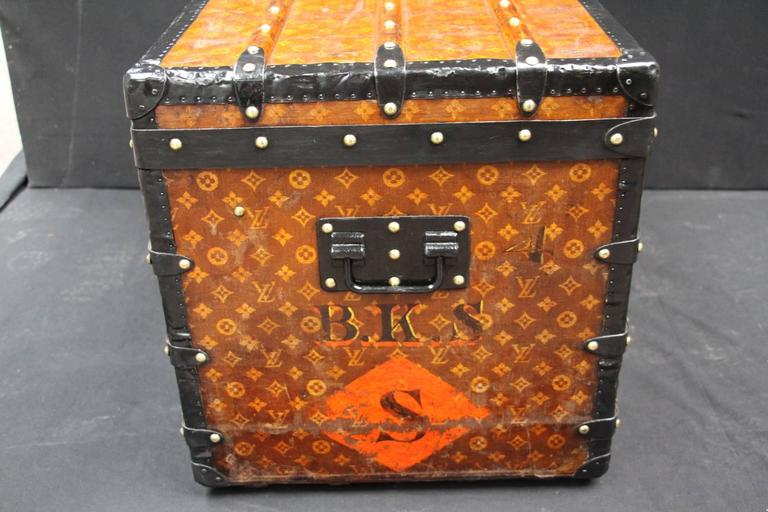 1900s Louis Vuitton Courrier Steamer Trunk in Woven Canvas,Malle Louis Vuitton In Excellent Condition For Sale In Saint-Ouen, FR