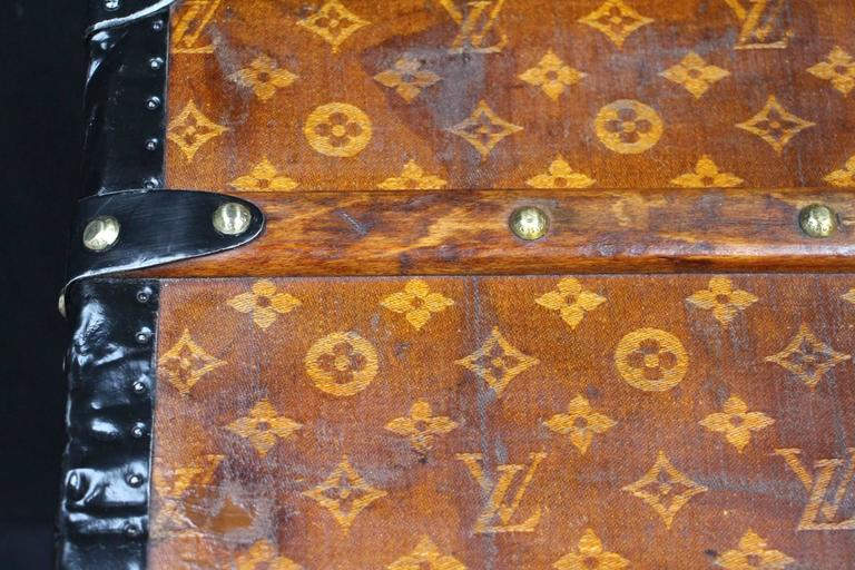 Late 19th Century 1900s Louis Vuitton Courrier Steamer Trunk in Woven Canvas,Malle Louis Vuitton For Sale