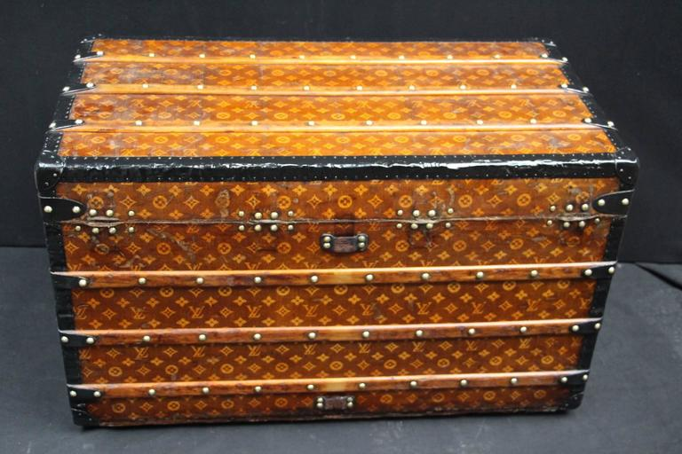 1900s Louis Vuitton Courrier Steamer Trunk in Woven Canvas,Malle Louis Vuitton For Sale 1