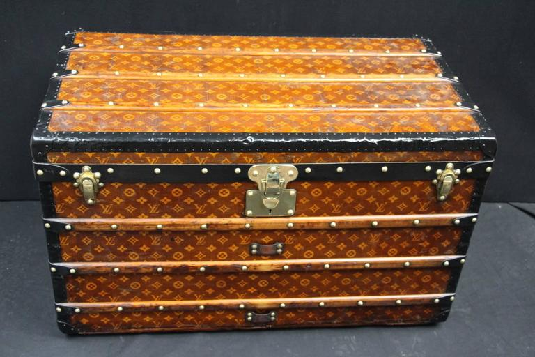 1900s Louis Vuitton Courrier Steamer Trunk in Woven Canvas,Malle Louis Vuitton For Sale 3