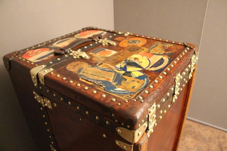 Brass Extra Large Louis Vuitton All Leather Wardrobe Steamer Trunk, Coffee  Table,Malle For