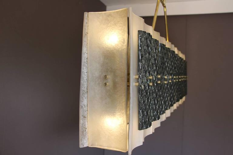 Italian Rectangular Champagne and Grey Murano Glass Chandelier For Sale