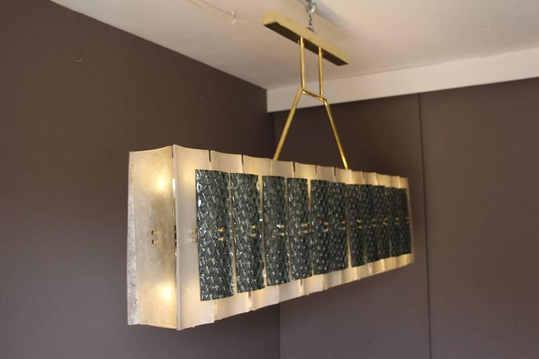 Late 20th Century Rectangular Champagne and Grey Murano Glass Chandelier For Sale