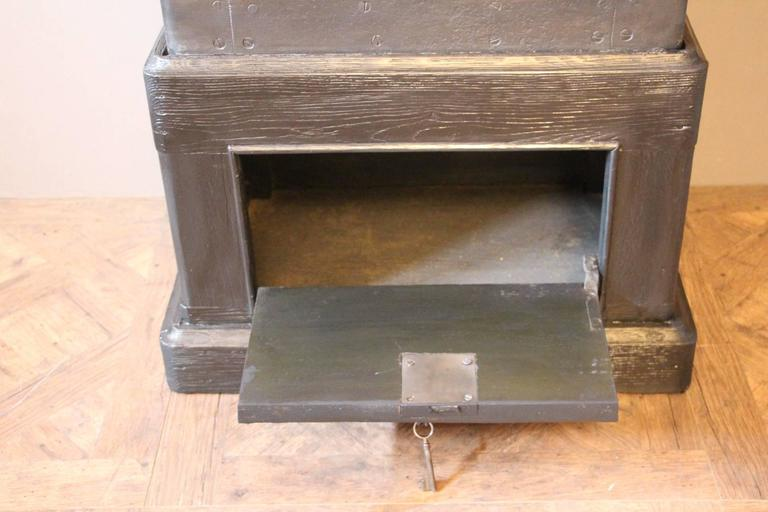 Late 19th Century Black Steel, Iron and Wood Safe with All Keys and Working Combination by Petitje For Sale