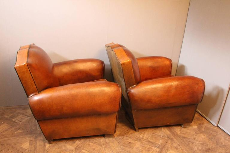 Art Deco Pair Of 1930s French Leather Club Chairs, Mustache Back For Sale