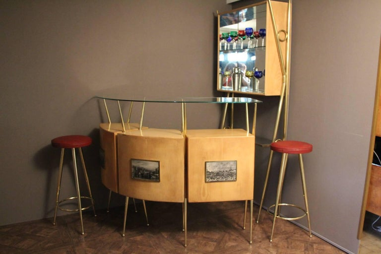 Glass Midcentury Italian Dry Bar Cabinet in the Style of Gio Ponti in Maple For Sale