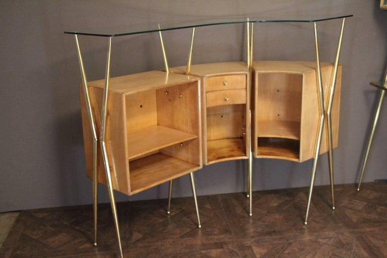 Midcentury Italian Dry Bar Cabinet in the Style of Gio Ponti in Maple 7