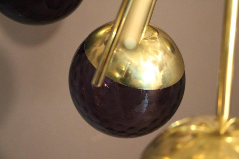Contemporary Midcentury Style Italian Sputnik Brass and Purple Murano Chandelier For Sale