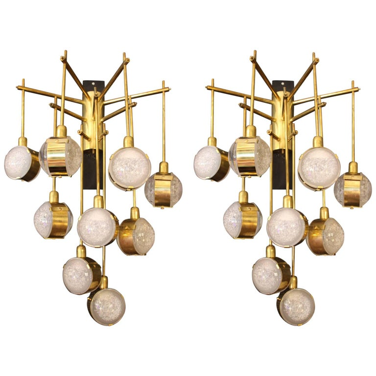 Italian Modern Midcentury Long Pair of Brass and Glass Sconces For Sale