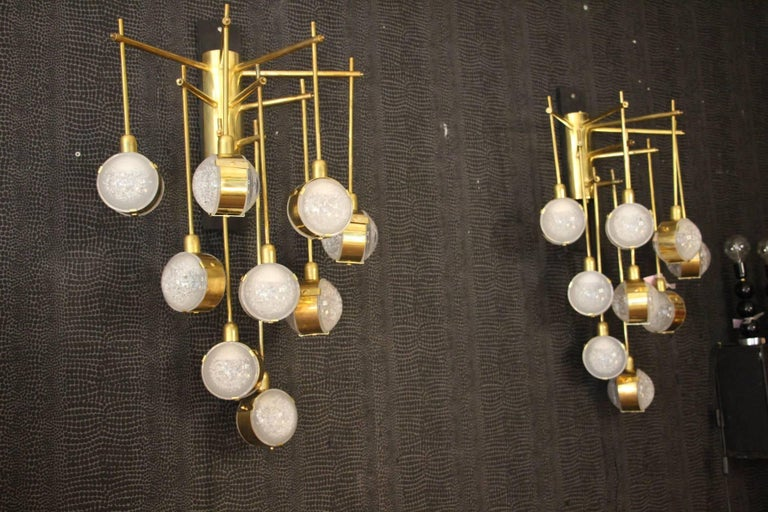 Late 20th Century Italian Modern Midcentury Long Pair of Brass and Glass Sconces For Sale