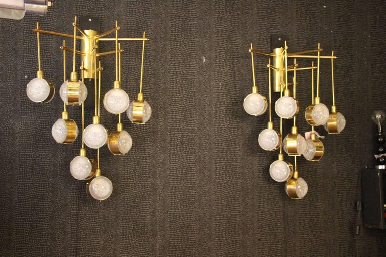Italian Modern Midcentury Long Pair of Brass and Glass Sconces For Sale 1