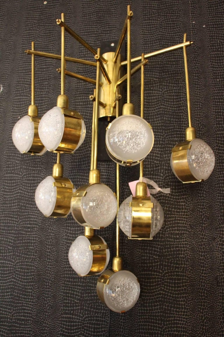 Italian Modern Midcentury Long Pair of Brass and Glass Sconces For Sale 4