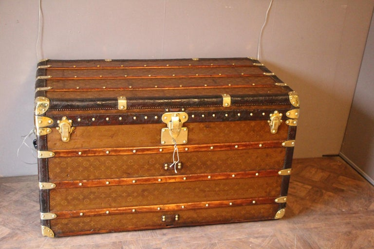 French 1930s Stenciled Monogram Louis Vuitton Trunk, Malle Louis Vuitton For Sale
