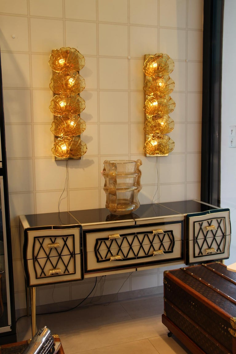 Italian Black and White Sideboard or Credenza in Murano Glass and Brass Inlay For Sale 10