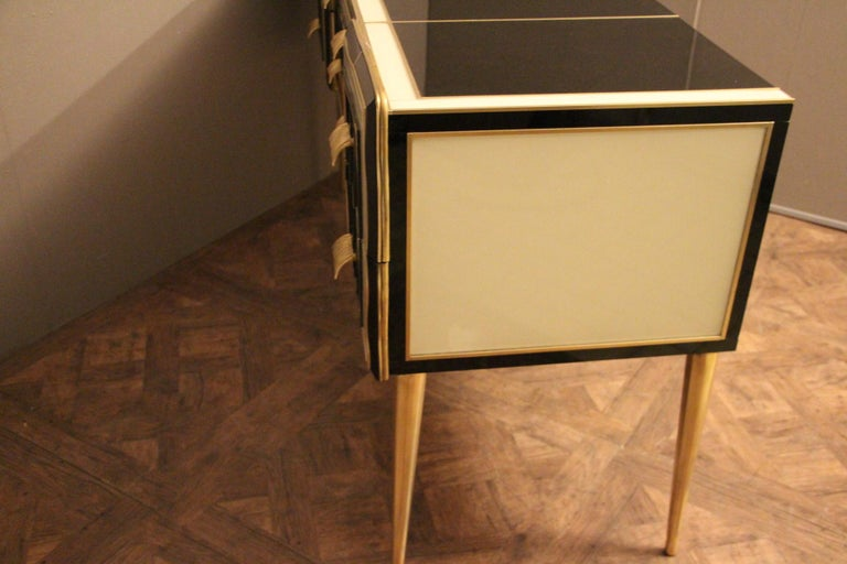 Italian Black and White Sideboard or Credenza in Murano Glass and Brass Inlay For Sale 7