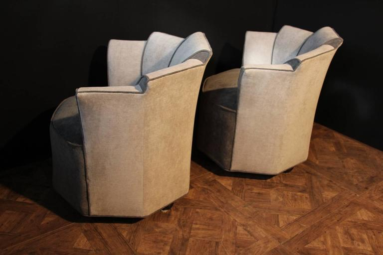 Mid Century Pair Grey Velvet French Lounge Chairs At 1stdibs