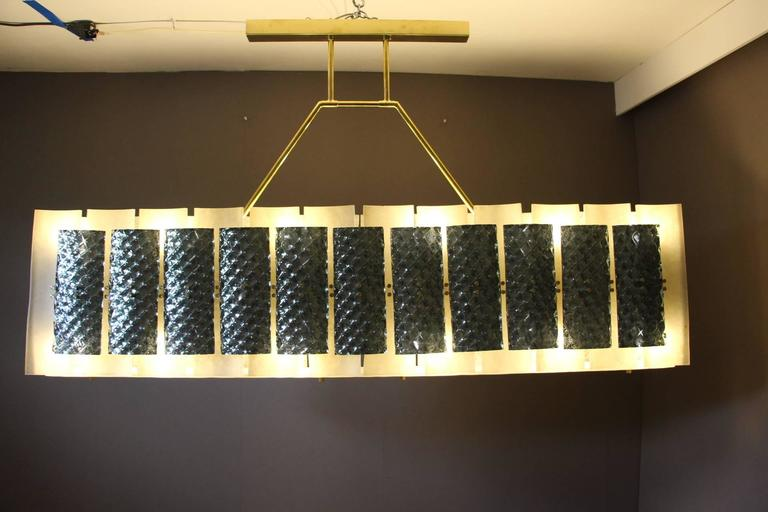 Rectangular Champagne and Grey Murano Glass Chandelier For Sale 2