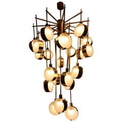 Italian Modern 24-Light Brass and Lavender Periwinkle Murano Glass ...