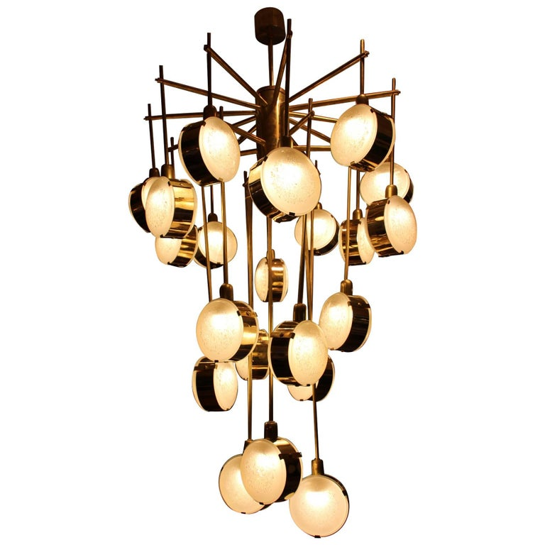 Italian Mid-Century Modern Brass and Glass Long Chandelier For Sale