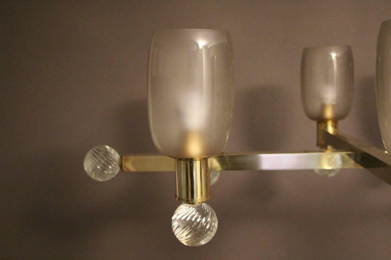 Large Architectural Oval Shaped Brass and Grey Murano Glass Ten-Light Chandelier For Sale 1