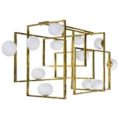 Glustin Luminaires Creation Rectangular Chandelier with Globes