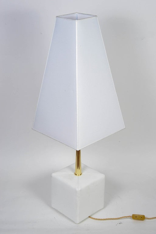 Italian Nice Leather and Brass Angelo Brotto Pair of Lamps by Esperia For Sale