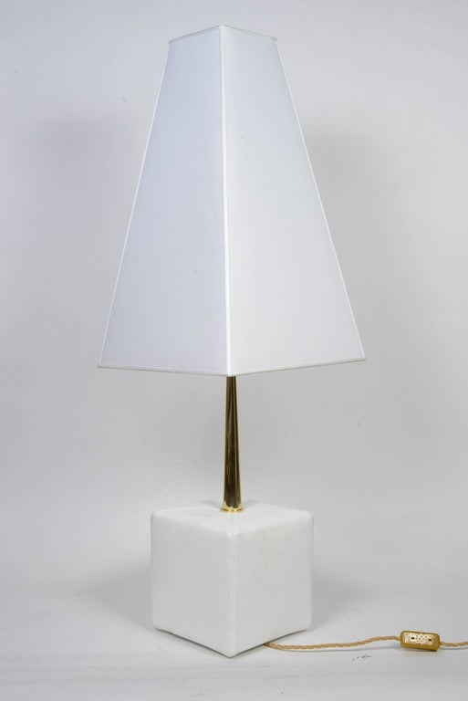 Nice Leather and Brass Angelo Brotto Pair of Lamps by Esperia In Excellent Condition For Sale In Saint-Ouen, IDF