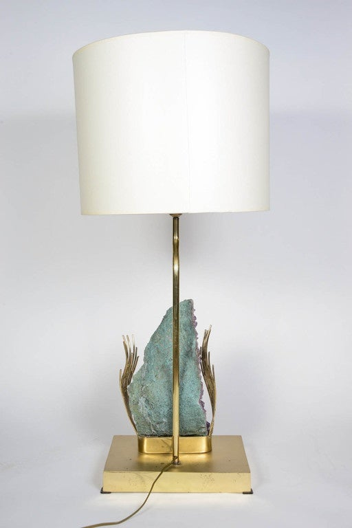 cool brass and amethyst lamp attributed to willy daro for sale at. Black Bedroom Furniture Sets. Home Design Ideas