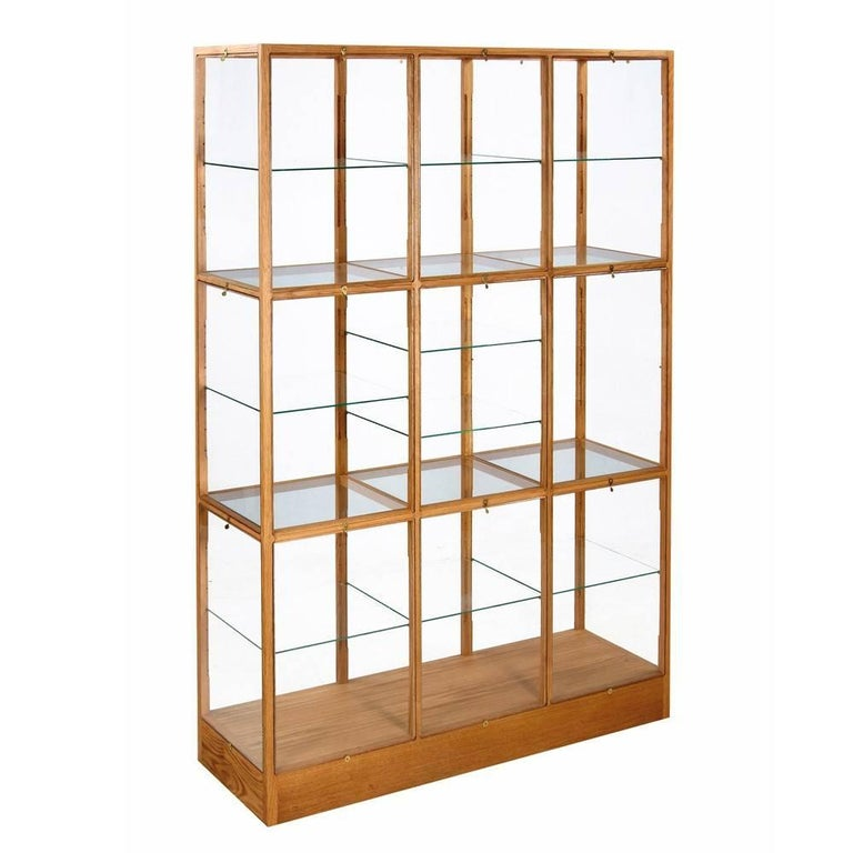 Piet Hein Eek Oak Display Cabinet Glass Bookcase Three Column Wide