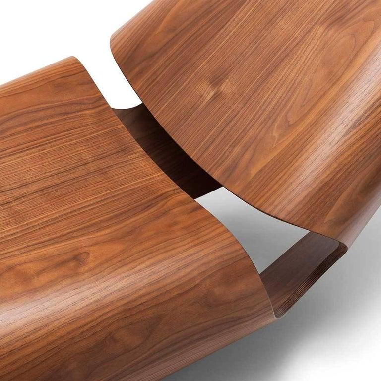 Ebonized Cowrie Rocking Chair Bent Wood Walnut Rocker For Sale