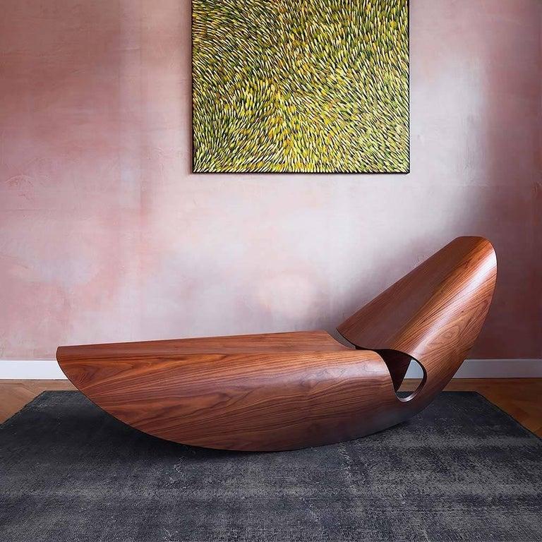 British Cowrie Rocking Chair Bent Wood Walnut Rocker For Sale
