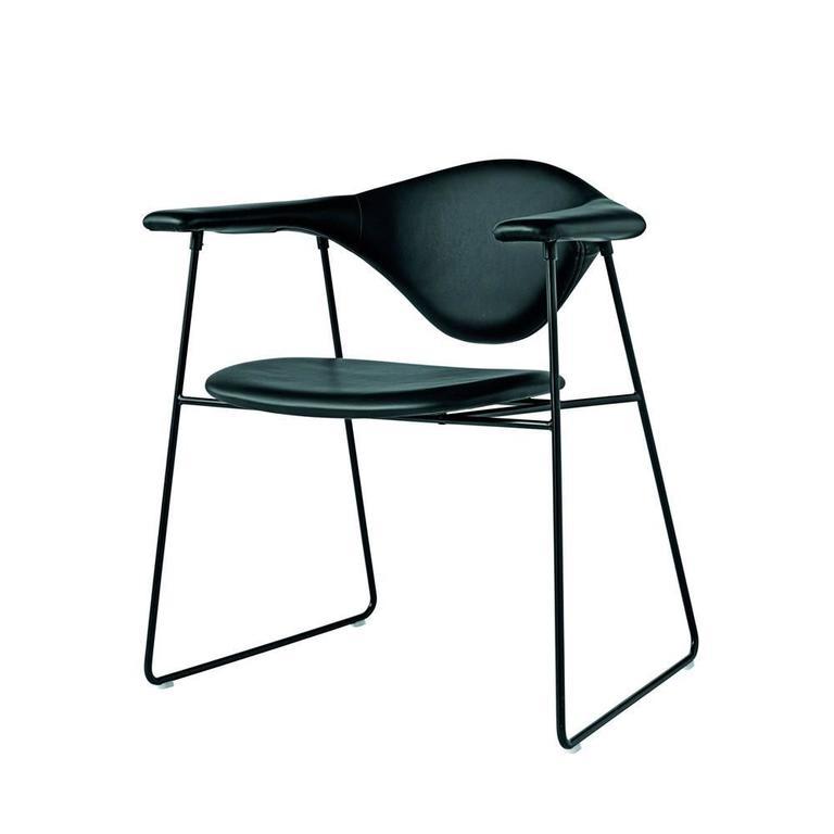 Gamfratesi for gubi masculo dining chair black leather for Black leather dining chairs for sale